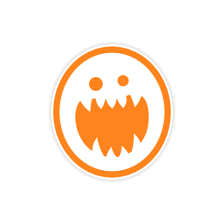 jowl: Sticker bright monster with sharp teeth on a white background