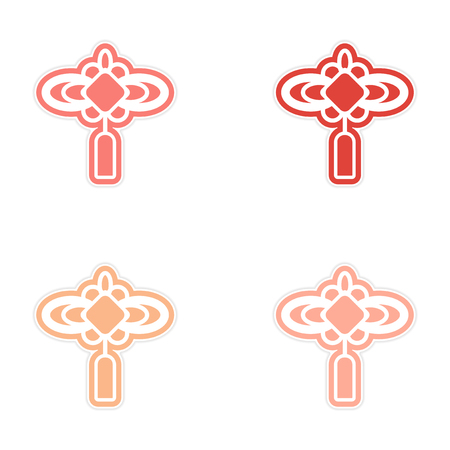 assembly: assembly stickers Chinese lanterns Illustration