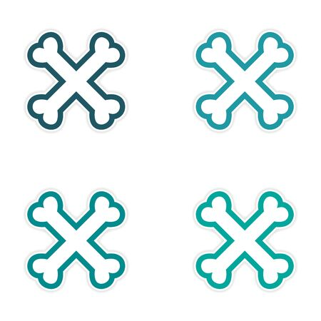 cross bones: assembly sticker cross bones stacked on a white background Vectores