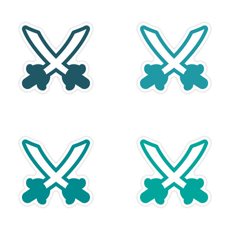 crossed swords: assembly sticker Bright crossed swords on a white background Illustration