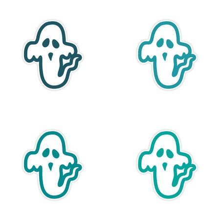 poltergeist: assembly sticker ghost color on a white background Illustration
