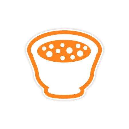 chineese: sticker miso soup plate on a white background Illustration