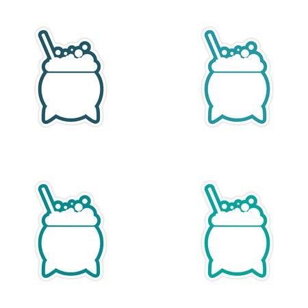 boiling pot: assembly sticker pot of boiling potion on a white background Illustration