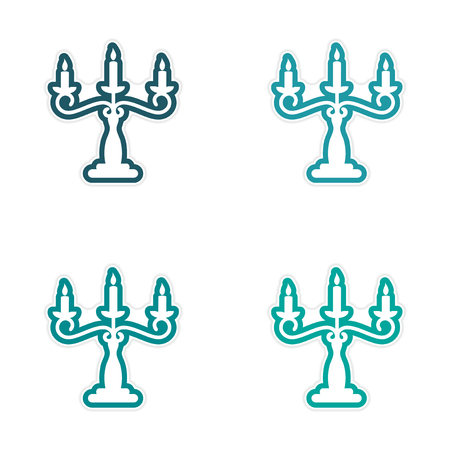 candelabra: assembly sticker candelabra and candles on a white background