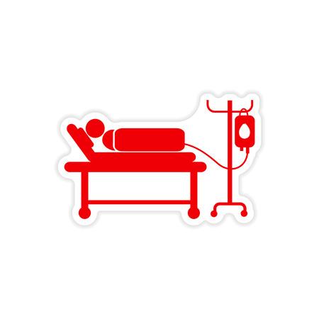 persona enferma: etiqueta engomada de papel del hombre en un fondo blanco por goteo Vectores
