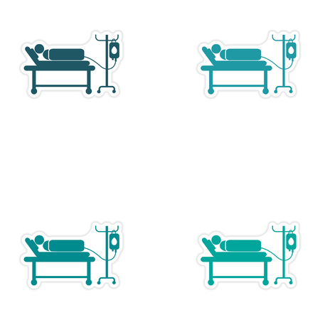 hospital patient: Set of stickers man on a drip white background