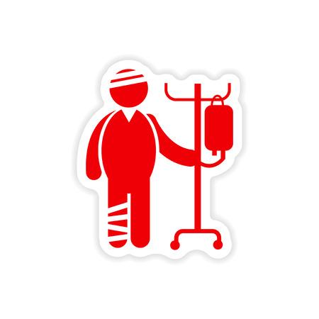 emergency cart: paper sticker man bandaged on white background