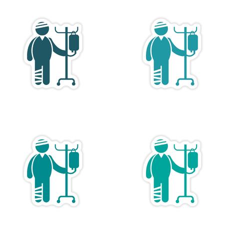 emergency cart: Set of stickers man bandaged on white background