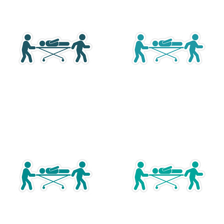 Set of stickers patients are on stretchers white background Vectores