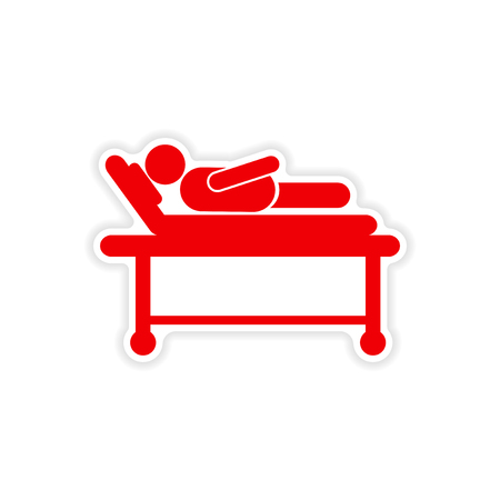 ward: paper sticker man in hospital bed on white background