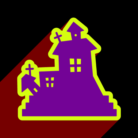 model house: Flat with shadow icon and mobile application haunted house Illustration