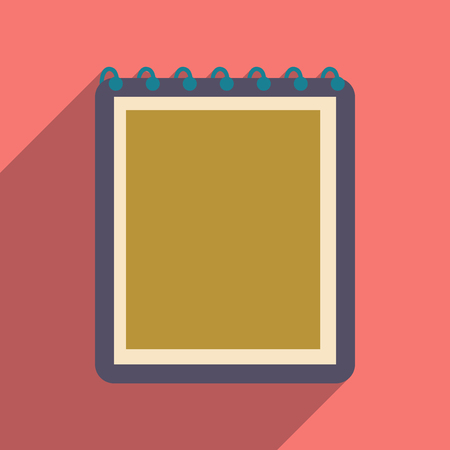 elastic band: Flat with shadow icon and mobile application notebook