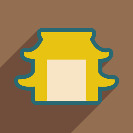 arch: Japanese arch realistic icon on brown  backgrounds Illustration