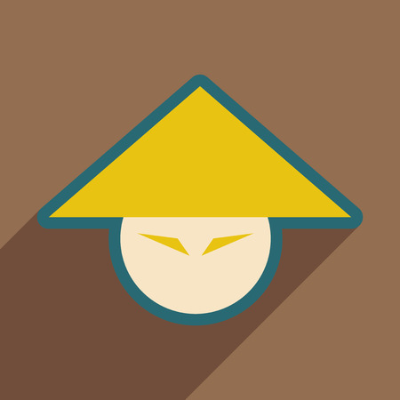 spicy mascot: Japanese hats realistic icon on brown  backgrounds