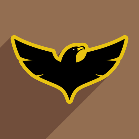 bird wing: stylish  Eagle realistic icon on brown  backgrounds