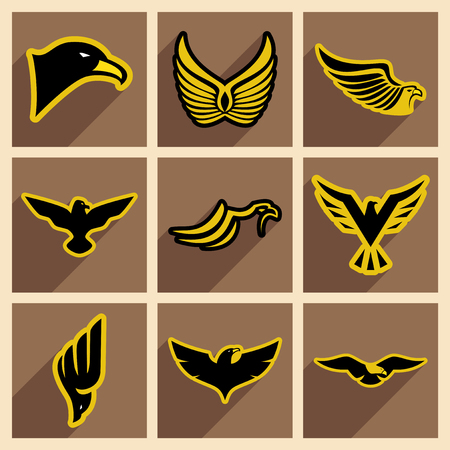 aigle: ensemble élégant d'aigles icône réaliste sur fond brun