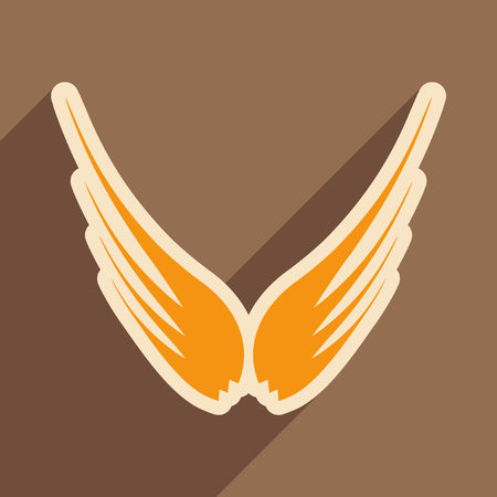 brown backgrounds: stylish wings of an eagle realistic icon on brown  backgrounds