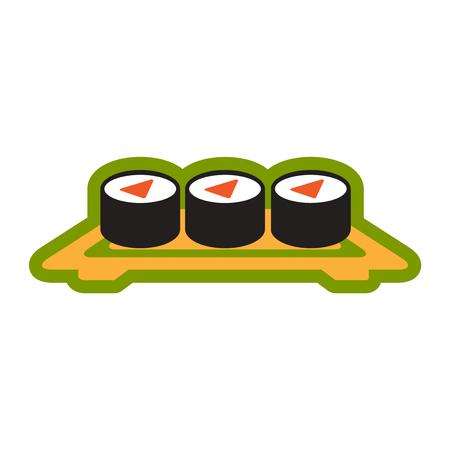 sushi  plate: Flat with shadow icon sushi rolls on plate stylish background Illustration