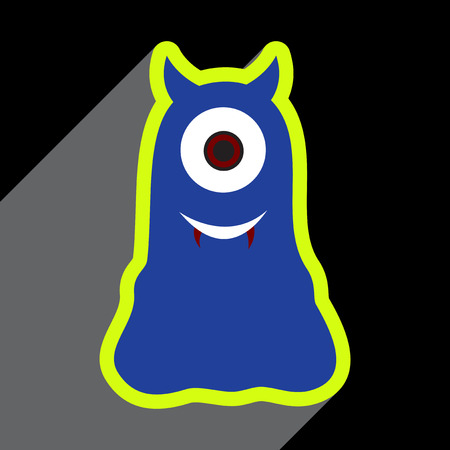toy story: Flat with shadow Icon cyclops monster on the bright background