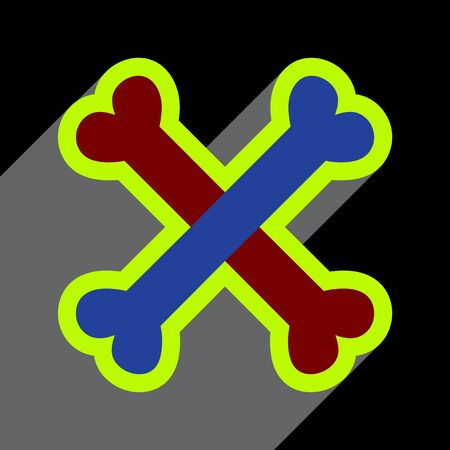 cross bones: Flat with shadow Icon cross bones stacked on colored background Vectores