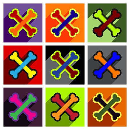 cross bones: Flat with shadow concept cross bones stacked on colored background