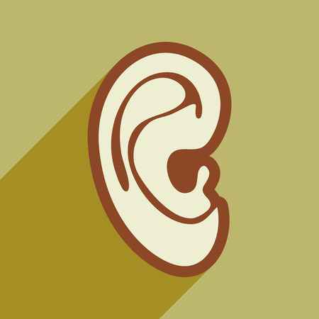 carious cavity: Icon of human ear in flat style
