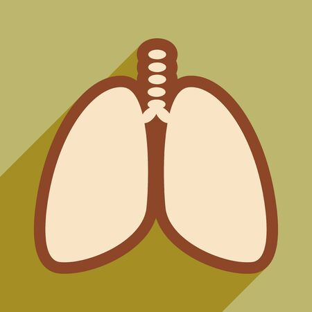 lobe: Icon of human lungs in flat style