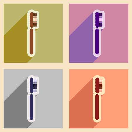 tidiness: Icons of assembly toothbrush in flat style