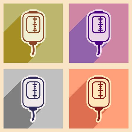 transfuse: Icons of assembly blood transfusion in flat style