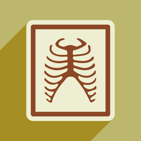 ribs: Icon of X-rays of ribs in flat style