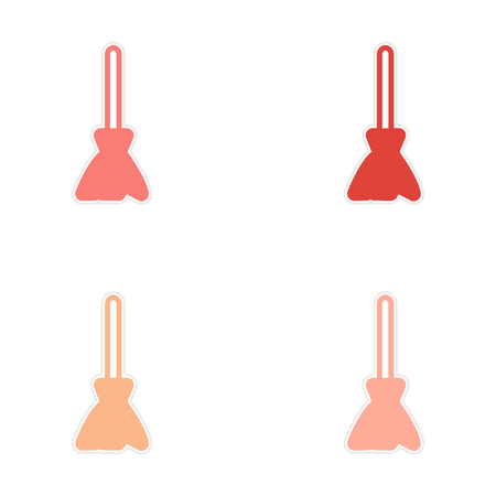 besom: Sticker assembly stylish bright broom on a white background Illustration