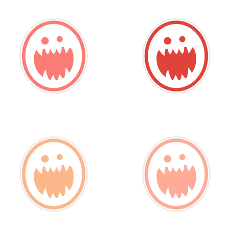 jowl: Sticker assembly bright monster with sharp teeth on white background