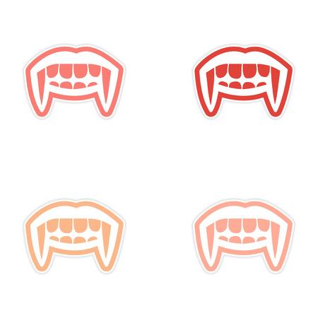 jowl: assembly sticker vampire bright smile on white background