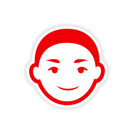 asian happy family: paper sticker Indian boy on white background