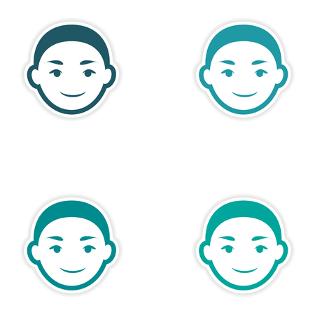 indian family: Set of stickers Indian boy on white background