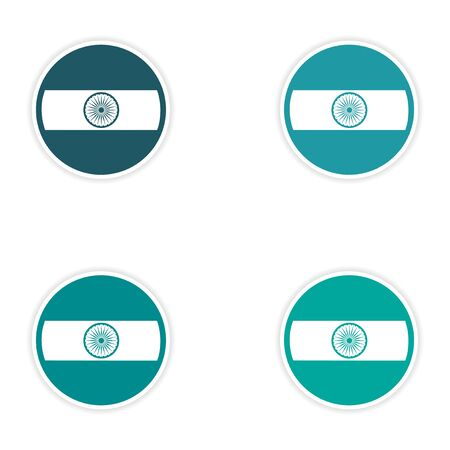 indian culture: Set of stickers Indian flag on white background