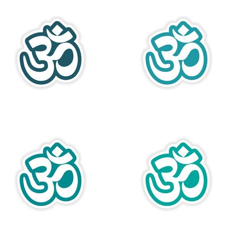 sanskrit: Set of stickers Indian om sign on white background Illustration