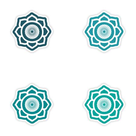 sanskrit: Set of stickers Indian sign on white background Illustration