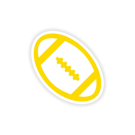 noone: paper sticker rugby ball on white background Illustration