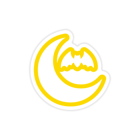 luna nueva: sticker new moon and a bat on a white background Vectores