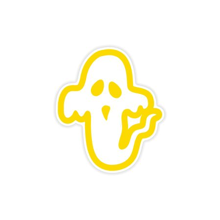 restless: sticker ghost color on a white background Illustration