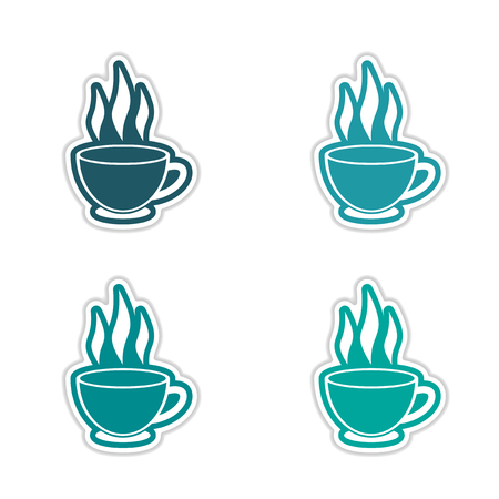 oolong: Set of stickers Indian tea cup on white background