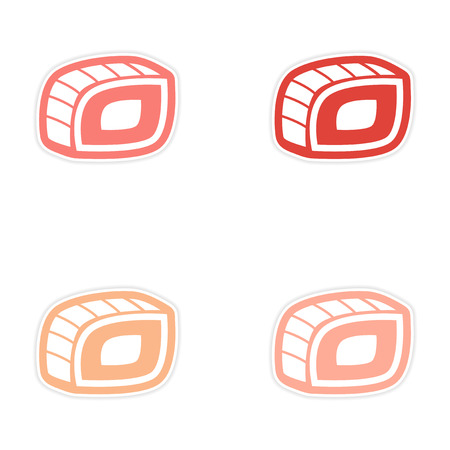 sushi roll: assembly sticker Sushi roll on a bright white background