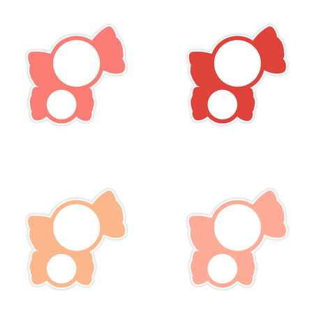 sweetstuff: assembly sticker colored sweets sugar candies on a white background