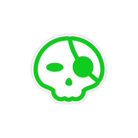 eye patch: sticker stylish skull with eye patch on white background Illustration