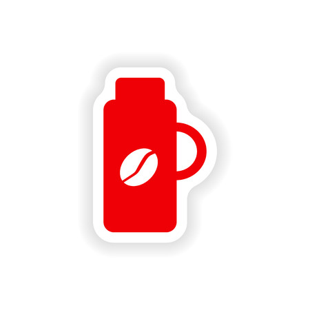 thermos: icon sticker realistic design on paper thermos