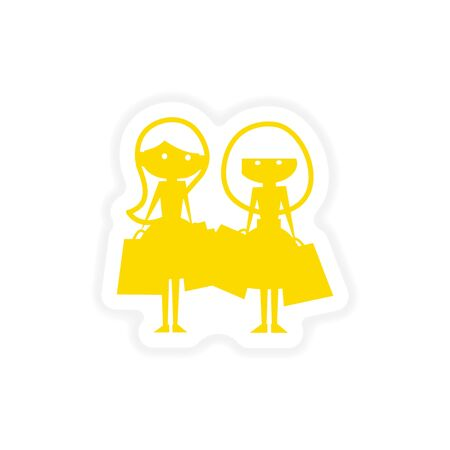 girlfriend: icon sticker realistic design on paper girlfriends shopping
