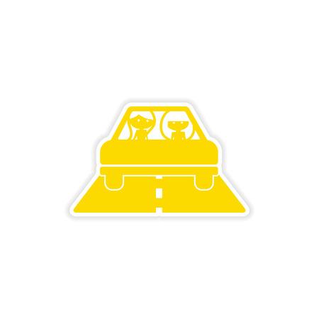 female driver: icon sticker realistic design on paper girlfriend car