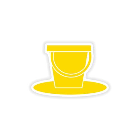 pail: icon sticker realistic design on paper pail Illustration