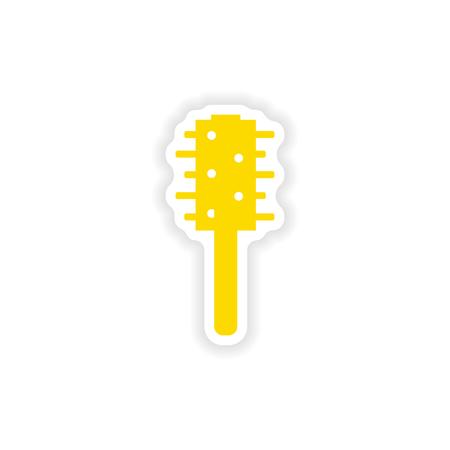 toilet brush: icon sticker realistic design on paper toilet brush